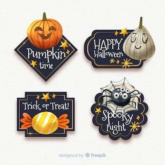 Halloween badge collection in watercolor
