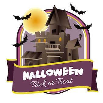 Halloween badge with haunted house