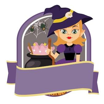 Halloween badge with magician cartoon