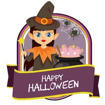 Halloween badge with wizard cartoon