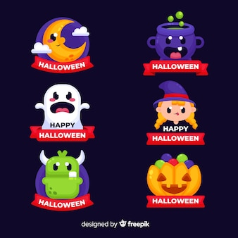 Halloween badges collection with ribbons