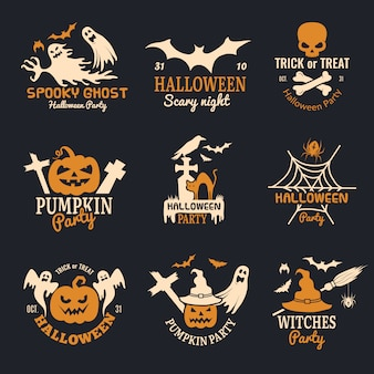 Halloween badges. party scary logo horror symbols skull bones halloween collection