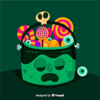 Halloween bag with frankenstein monster on flat design