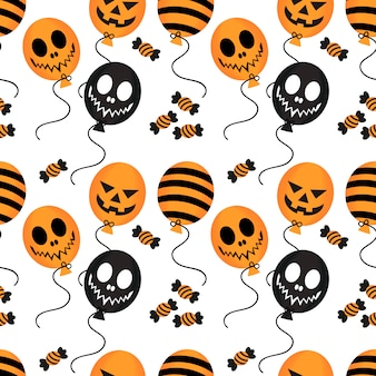 Halloween balloon and candy seamless pattern.