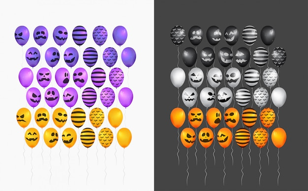 Halloween balloons character set