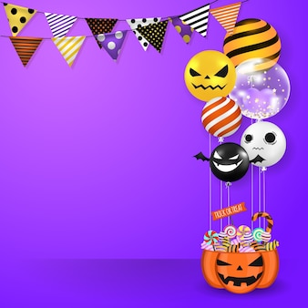 Halloween balloons and party flag on purple background.