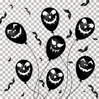 Halloween balloons on transparent