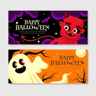 Halloween banner collection template
