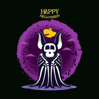 할로윈 배너 귀여운 재미 있는 박쥐 해골 템플릿 디자인