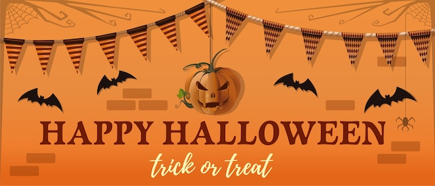 Halloween banner design. jack-o-lantern, bat and a greeting inscription on an orange background