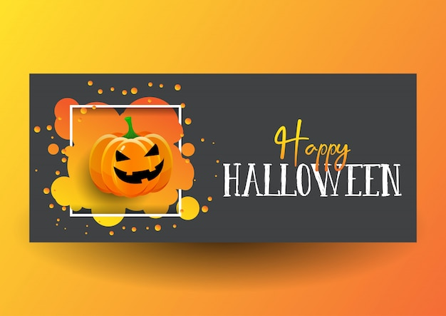 Halloween banner design with cute pumpkin