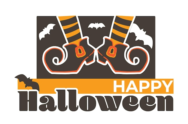 Halloween banner greeting with autumn holiday, witch boots and socks, flying bats and inscription. fall season symbol and decoration for party. american event at october 31, vector in flat style