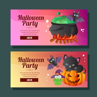 Halloween banner horizontal frog bat cat