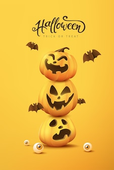 Halloween banner or party invitation background with pumpkin funny faces