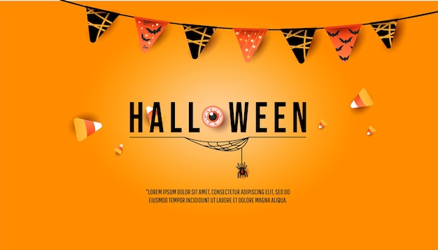 Halloween banner, party invitation concept. creative trendy decor with flags garland, colorful candies, spider with cobwebs on minimal orange background