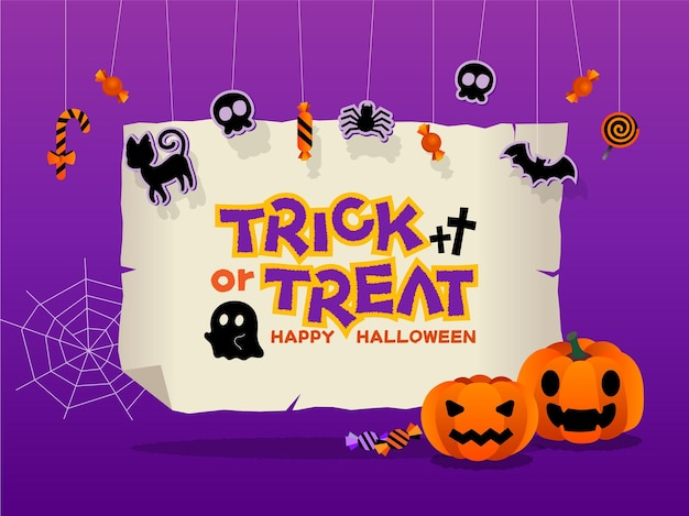 Halloween banner or party invitation with square frame and flat  icons