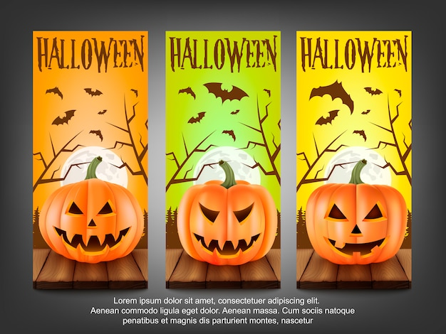 Баннер хэллоуина. страшные тыквы.