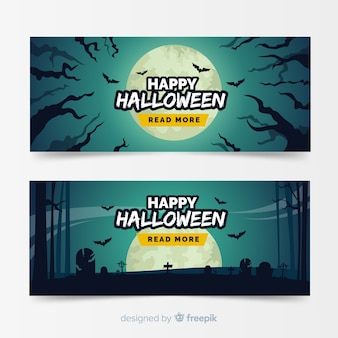 Halloween banner template flat design