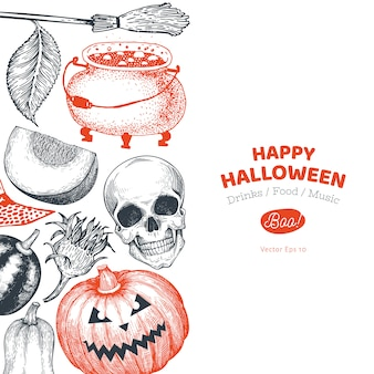 Halloween banner template. hand drawn illustrations.