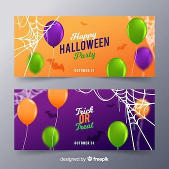 Halloween banner template realistic design