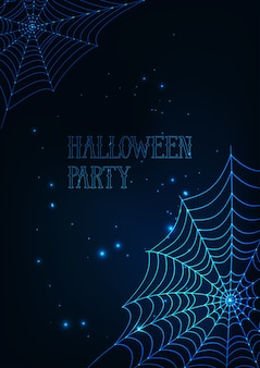 Halloween banner template with glowing spider webs on dark blue background.