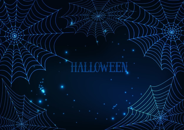 Halloween banner template with glowing spider webs