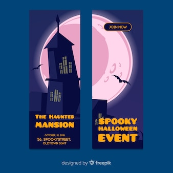 Halloween banner templates in flat design