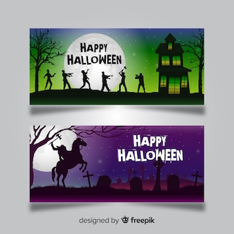 Halloween banner templates with zombies