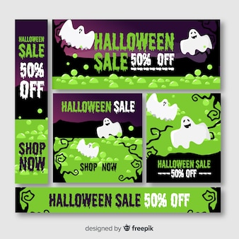 Halloween banner web in green shades with ghosts
