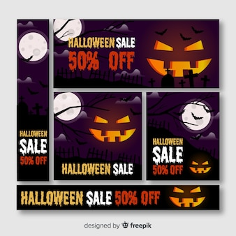 Halloween banner web with big carved pumpkin