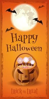 ジャック・オー・ランタンの形のお菓子のバスケットとハロウィーンのバナー。ハロウィンデザイン。トリック・オア・トリート