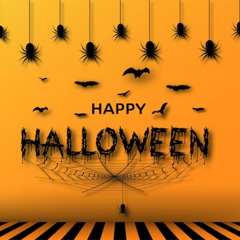 Halloween banner with bats, spiders and spider web on orange background. vector