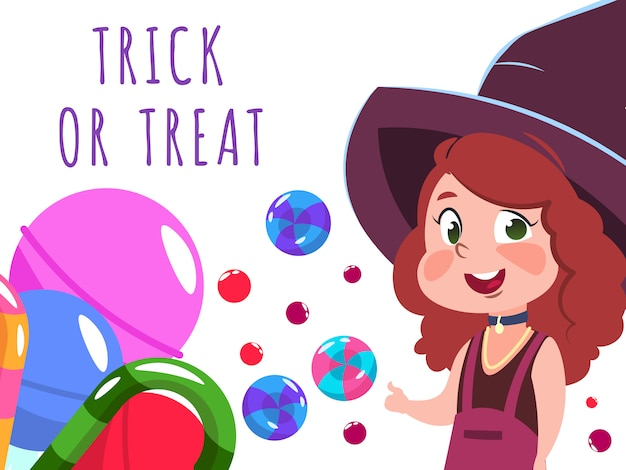 Halloween banner with cartoon character witch and sweets