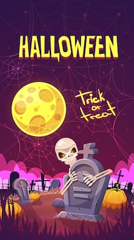 Halloween banner with a cemetery, a skeleton and pumpkins.