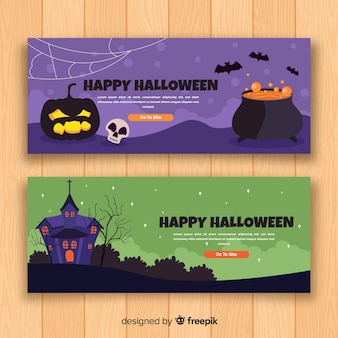 Halloween banner with flat design