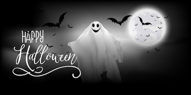 Halloween banner with ghost and bats design
