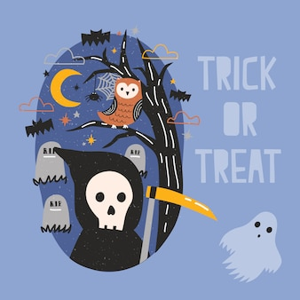 Halloween banner with grim reaper holding scythe, ghost, owl sitting on tree branch against graves on cemetery and starry night sky on background. trick or treat. cartoon festive illustration.