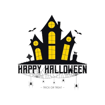Halloween banner with haunted house spider web and spiders gravestone and tombstone on grave cat