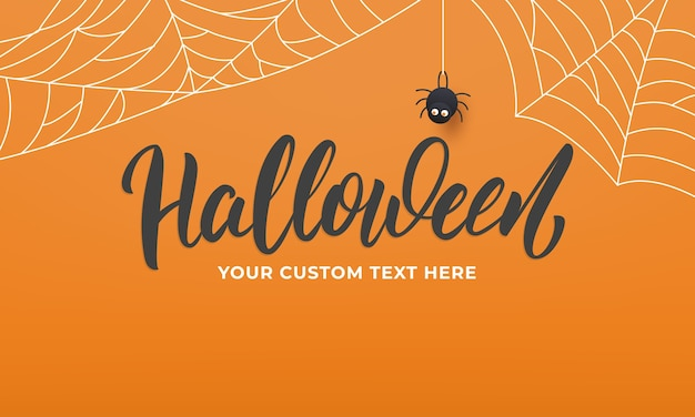 Halloween banner with lettering and spider web