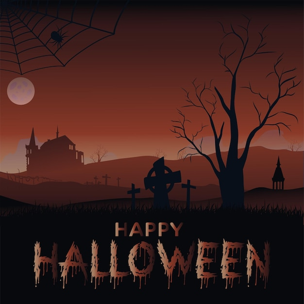 Halloween banner with old castle bats and moon. vector