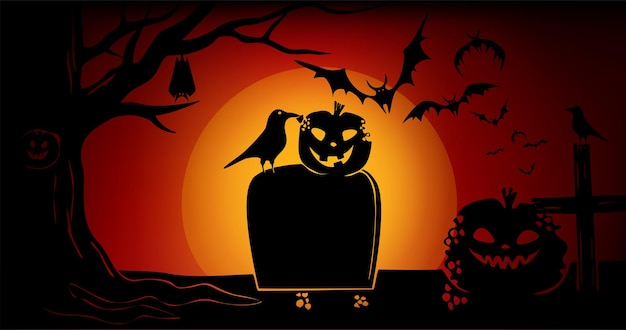 보름달이 있는 붉은 하늘에 호박 까마귀 나무와 묘비박쥐가 있는 할로윈 배너