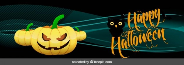 Halloween banner with pumpkins and a owl