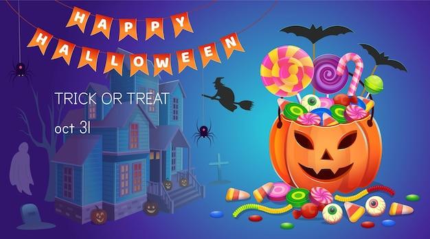 お菓子とカボチャと家のハロウィーンのバナー。漫画イラスト。ゲームおよびモバイルアプリケーションのアイコン。