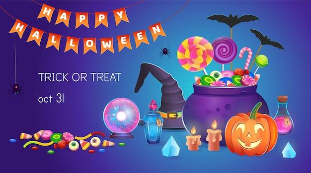 Баннер хэллоуина с тыквами со сладостями, шляпой ведьмы, котлом, зельями, волшебным шаром, кристаллами и свечами. иллюстрации шаржа. иконка для игр и мобильного приложения.