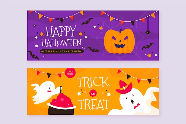 Banner di halloween in design piatto