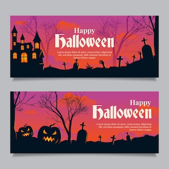 Halloween banners in flat design