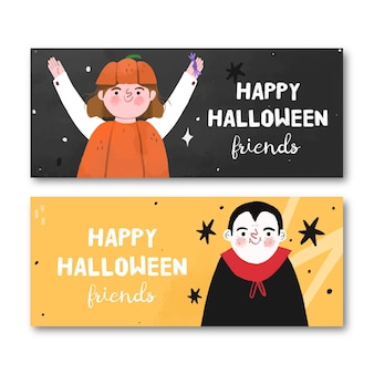 Halloween banners hand drawn design