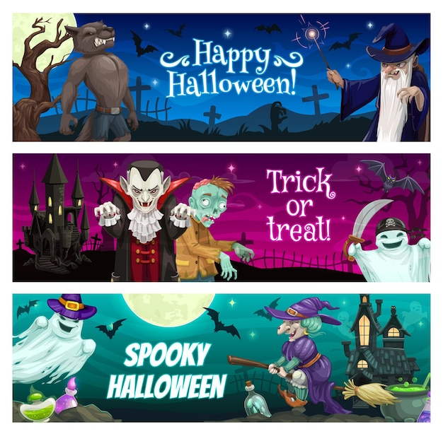 ハロウィーンのバナー、パーティーの休日、トリックオアトリートベクトルの背景。ハッピーハロウィンホラーナイトカボチャ、不気味なコウモリと怖い月、休日のお祝いモンスター吸血鬼、幽霊、魔女とゾンビ