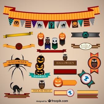 Halloween banners and ribbons