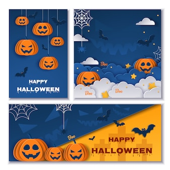 Halloween banners set.  illustrations.